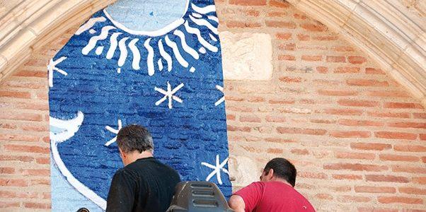 Adhésif numérique sur mur en brique patrimoine Chateau - Signa France